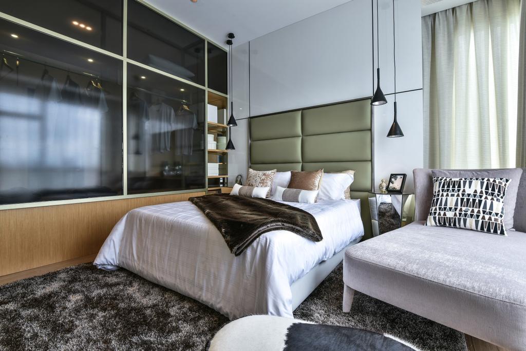 Modern, Landed, Bedroom, Kajang, Interior Designer, SQFT Space Design Management, Cushion, Home Decor, Indoors, Interior Design, Lighting
