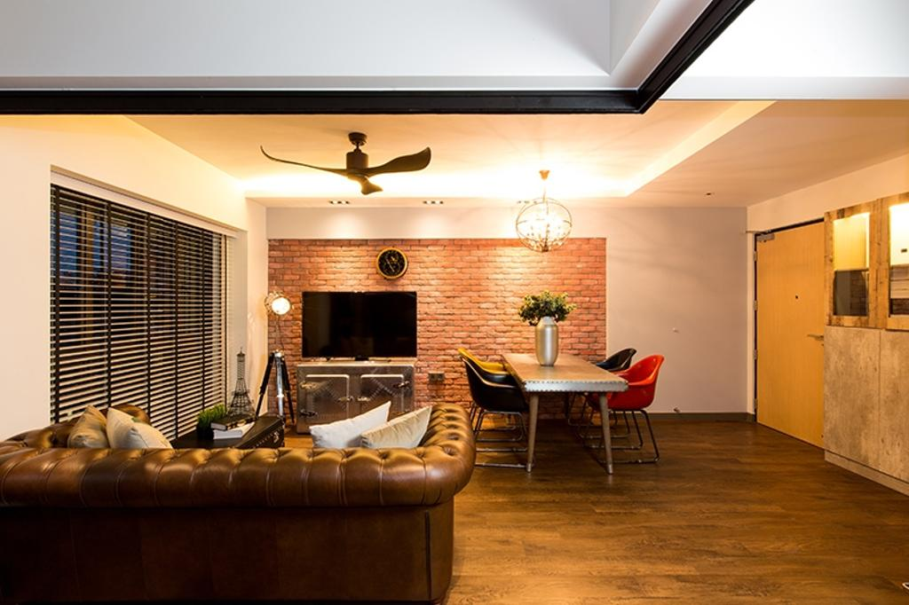 Industrial, HDB, Living Room, SkyVille @ Dawson, Interior Designer, Thom Signature Design, Vintage, Red Brick Wall, Chesterfield Sofa, Small Space, Pendant Lamp, Red Bricks, Leather Sofa, Black Blinds