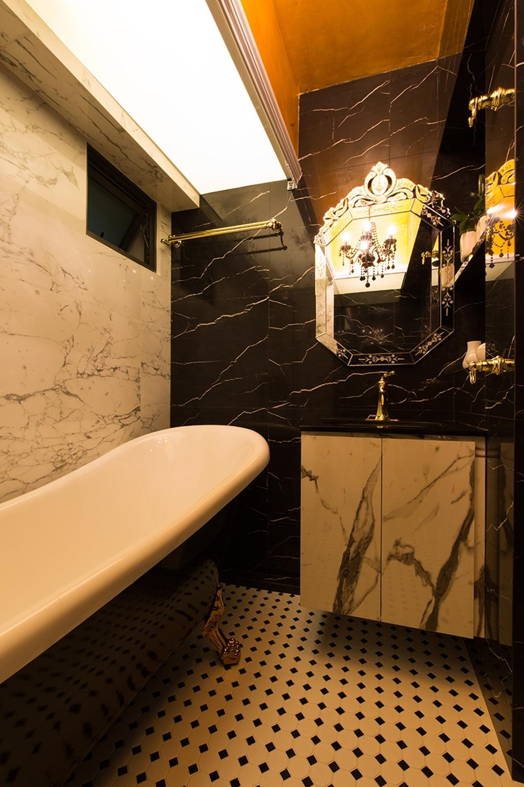 Industrial, HDB, Bathroom, SkyVille @ Dawson, Interior Designer, Thom Signature Design, Vintage, Marble Wall, Marble Textured Wall, Graphic Tiles, Colonial Tiles, Monochrome, Black And White, Bath Tub