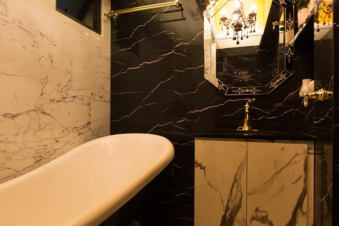 SkyVille @ Dawson, Thom Signature Design, Industrial, Vintage, Bathroom, HDB, Marble Wall, Marble Textured Wall, Graphic Tiles, Colonial Tiles, Monochrome, Black And White, Bath Tub