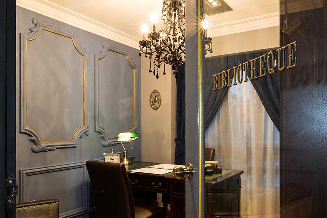 SkyVille @ Dawson, Thom Signature Design, Industrial, Vintage, Study, HDB, Wainscoting, Rug, Dirty Blue, Wainscoting Panel, Recessed Lightings