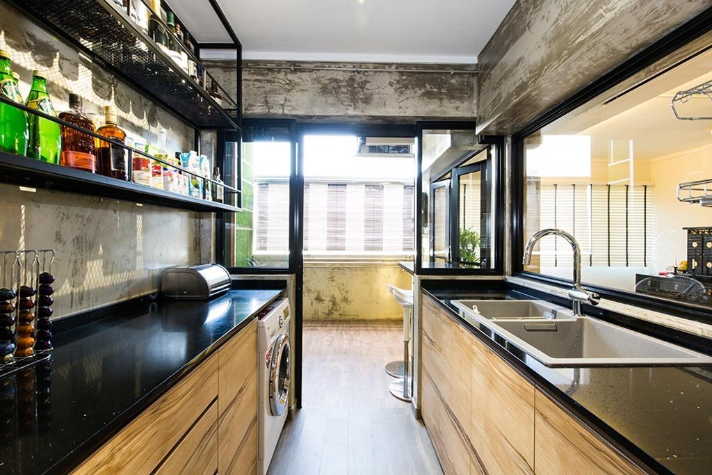 Industrial, HDB, Kitchen, Simei Street (Block 226), Interior Designer, Thom Signature Design, Modern