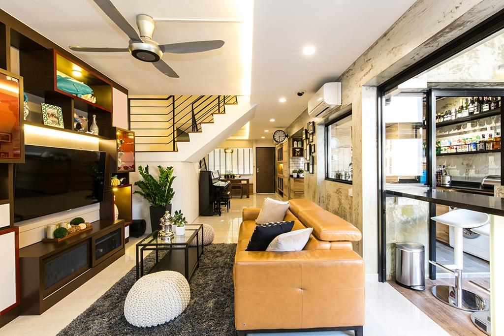 Industrial, HDB, Living Room, Simei Street (Block 226), Interior Designer, Thom Signature Design, Modern