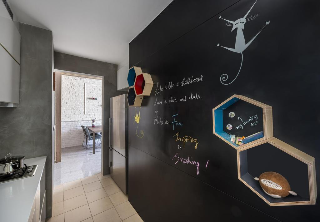 Eclectic, Condo, Kitchen, Canberra Residence, Interior Designer, Prozfile Design, Shelf, Shelves, Chalkboard, Black, Tile, Tiles, Cement Wall, White, Blackboard