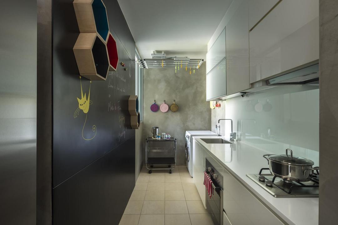 Canberra Residence, Prozfile Design, Eclectic, Kitchen, Condo, Chalkboard, Tiles, Tile, Cement Wall, Kitchen Counter, Cabinet, White, Shelf, Shelves, Geometric, Black