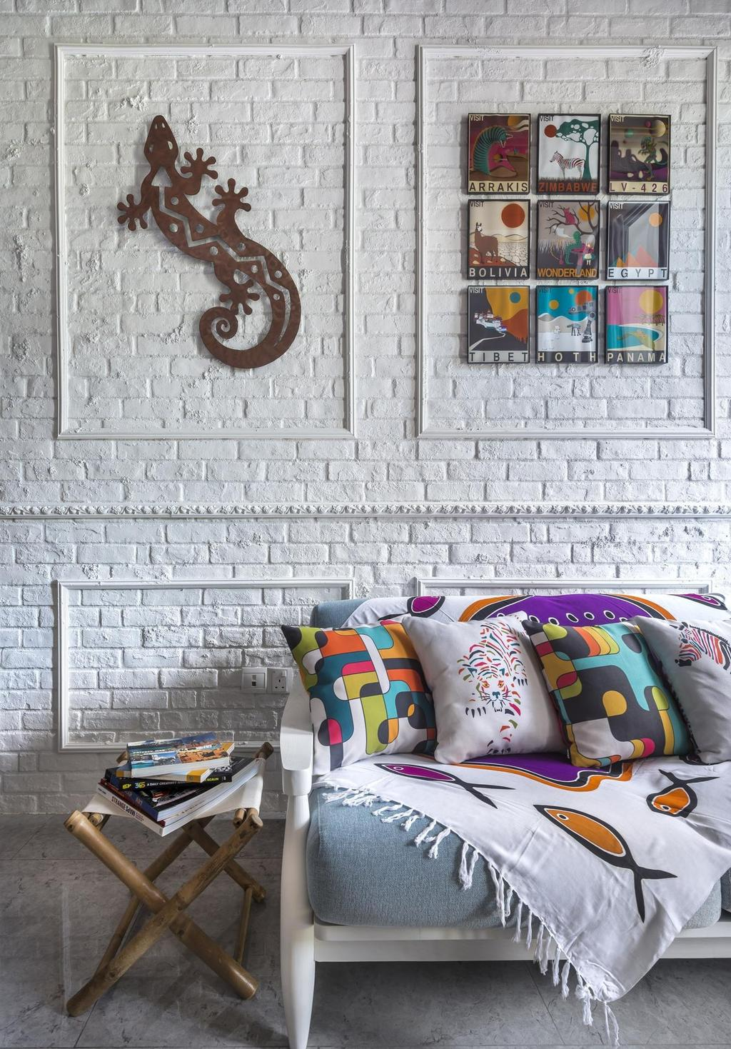 Eclectic, Condo, Living Room, Canberra Residence, Interior Designer, Prozfile Design, Wall Panels, Whitewashed Brick, White Brick Wall, Brick Wall, Sofa, Side Table, Marble Flooring, Wall Art, Painting