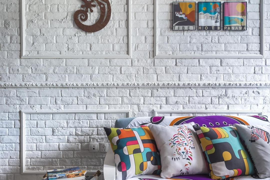 Canberra Residence, Prozfile Design, Eclectic, Living Room, Condo, Wall Panels, Whitewashed Brick, White Brick Wall, Brick Wall, Sofa, Side Table, Marble Flooring, Wall Art, Painting