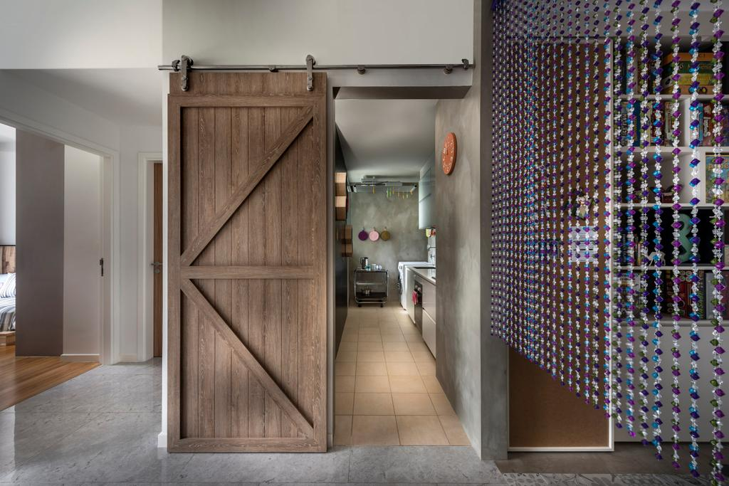 Eclectic, Condo, Kitchen, Canberra Residence, Interior Designer, Prozfile Design, Barn Doors, Wood Laminate, Wood, Laminate, Marble Flooring, Tile, Tiles, White, Cement Wall, Flooring