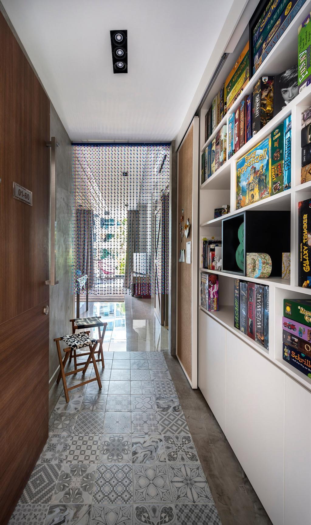 Eclectic, Condo, Canberra Residence, Interior Designer, Prozfile Design, Tile, Tiles, Bookcase, Bookshelf, Shelf, Shelves, Cabinet, Stools, White, Indented Lighting, Recessed Lighting, Bar Stool, Furniture, Chair, Collage, Poster