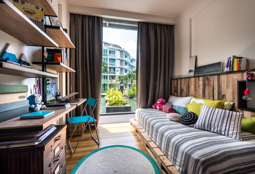 Eclectic, Condo, Bedroom, Canberra Residence, Interior Designer, Prozfile Design, Shelf, Shelves, Curtains, Full Length Windows, Platform Bed, Headboard, Wood Laminate, Wood, Laminate, Parquet, Rug, Cushions, Woodwork, White, Table, Study Table, Chair, Furniture