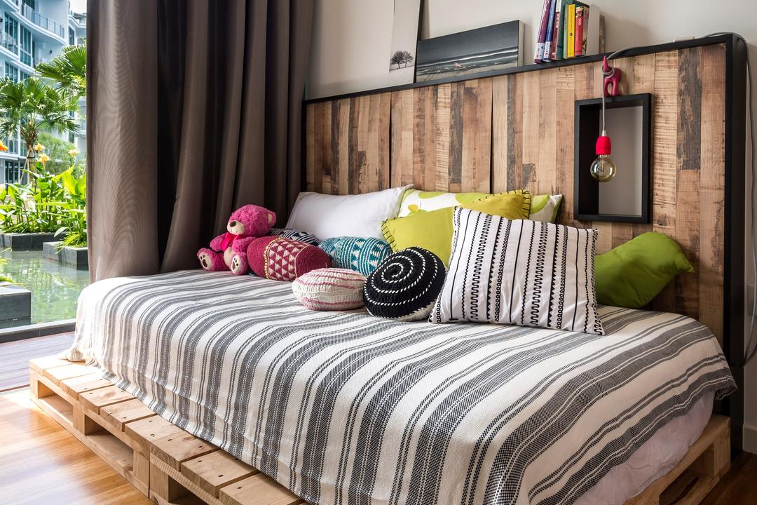 Canberra Residence, Prozfile Design, Eclectic, Bedroom, Condo, Curtains, Wood Laminate, Wood, Laminate, Parquet, Rug, Platform, Platform Bed, Woodwork, Headboard, Painting, White, Flora, Jar, Plant, Potted Plant, Pottery, Vase