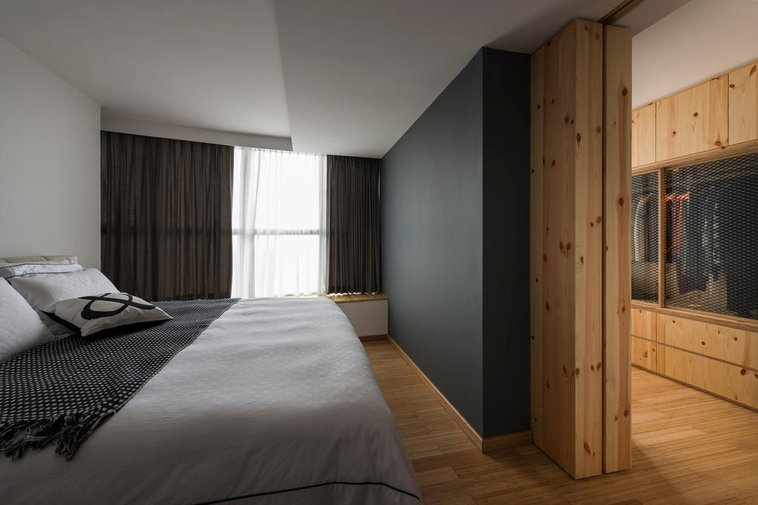 Natura Loft, Prozfile Design, Scandinavian, Bedroom, Condo, Master Bedroom, Walk In Wardrobe, Wood Laminate, Wood, Laminate, Parquet, Grills, Curtains, White, False Ceiling, Black, HDB, Building, Housing, Indoors, Loft, Home Decor, Quilt