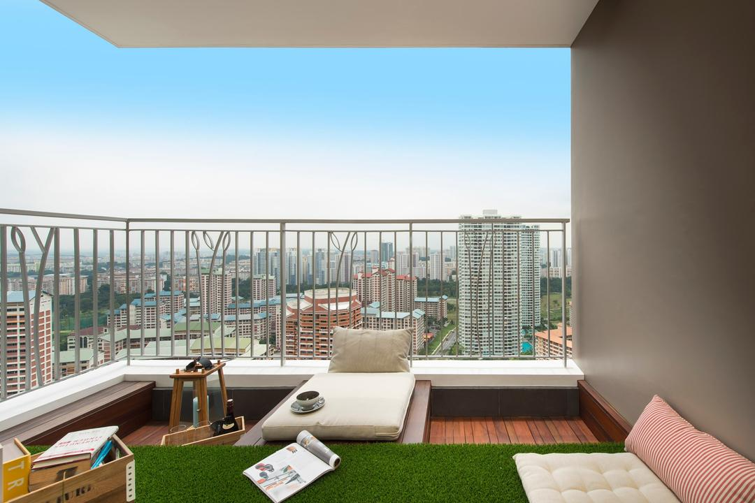 Natura Loft, Prozfile Design, Scandinavian, Balcony, Condo, Railing, Artificial Lawn, Cushions, Taupe, Plank Flooring, Bench, Stools, HDB, Building, Housing, Indoors