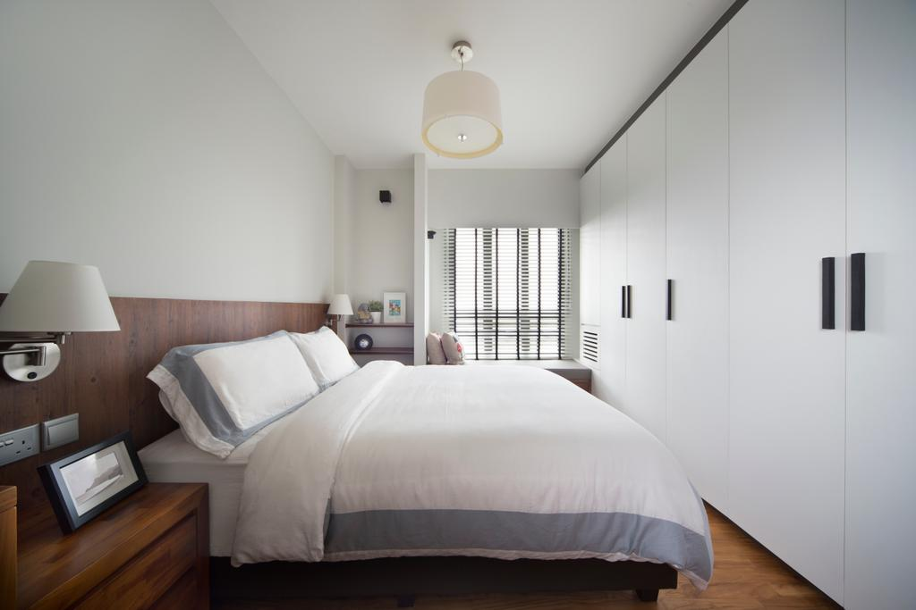 Scandinavian, HDB, Bedroom, Skyville @ Dawson, Interior Designer, The Scientist, Wooden Bed Frame, Monochrome, Neutral Colours, White And Wood, Pendant Lamp, Bedside Lamp, Bedside Table, Cabinet, Wardrobe, Wardrobe Handles, Lamp, Indoors, Interior Design, Room, Table Lamp