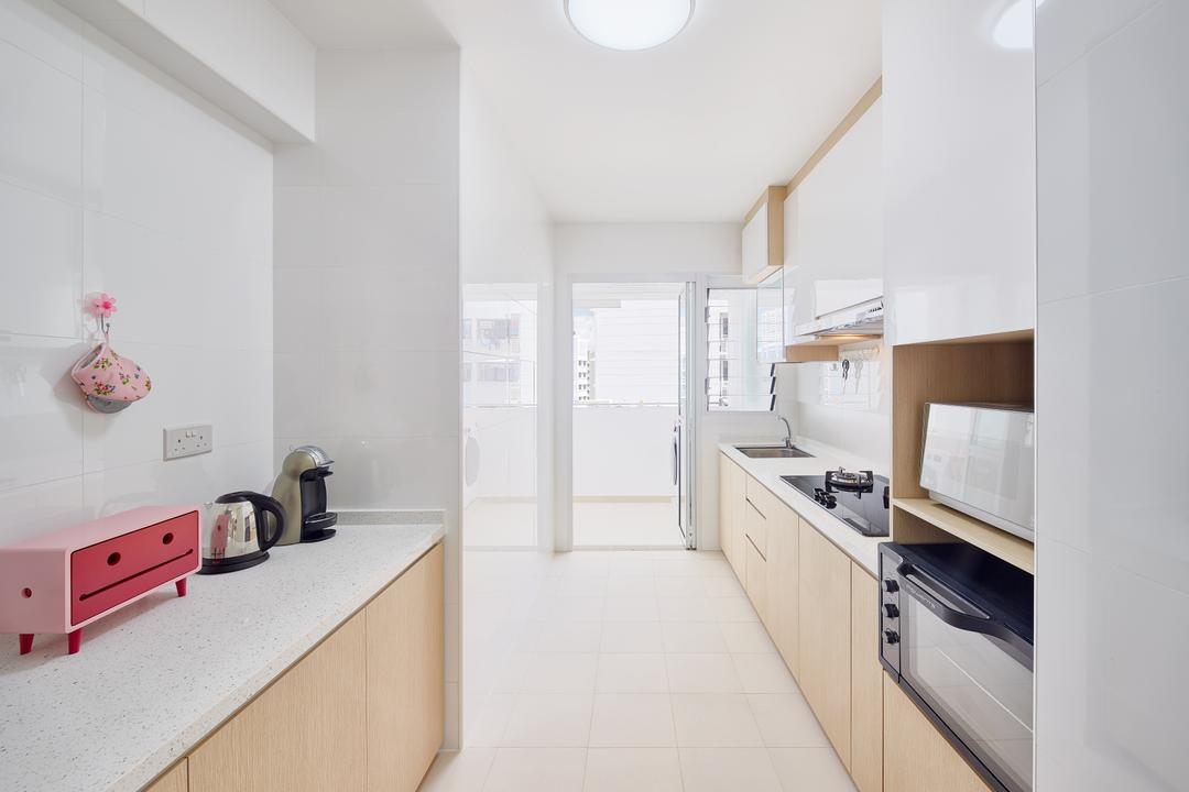 Sumang Walk (Block 256C), Absolook Interior Design, Scandinavian, Kitchen, HDB, White And Wood, Soft Wood Tones, Light Wood, Kitchen Countertop, Countertop, Solid Surface, Service Yard, Monochrome, Indoors, Interior Design, Appliance, Electrical Device, Oven