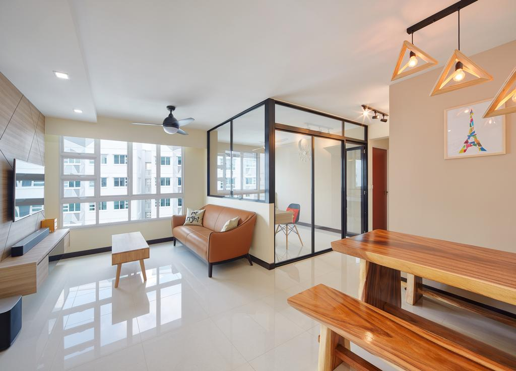 Scandinavian, HDB, Living Room, Sumang Walk (Block 256C), Interior Designer, Absolook Interior Design, Tiles, Leather Sofa, Leather Brown, Wood Accents, Woody, Bright And Airy, Black Framed Partition, Partition, Glass Wall, Half Hack, Coffee Table, Light Fixture