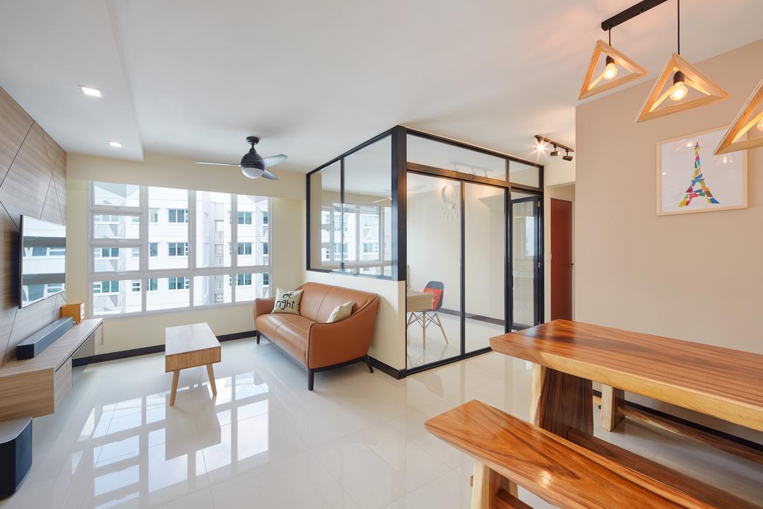 Sumang Walk (Block 256C), Absolook Interior Design, Scandinavian, Living Room, HDB, Tiles, Leather Sofa, Leather Brown, Wood Accents, Woody, Bright And Airy, Black Framed Partition, Partition, Glass Wall, Half Hack, Coffee Table, Light Fixture