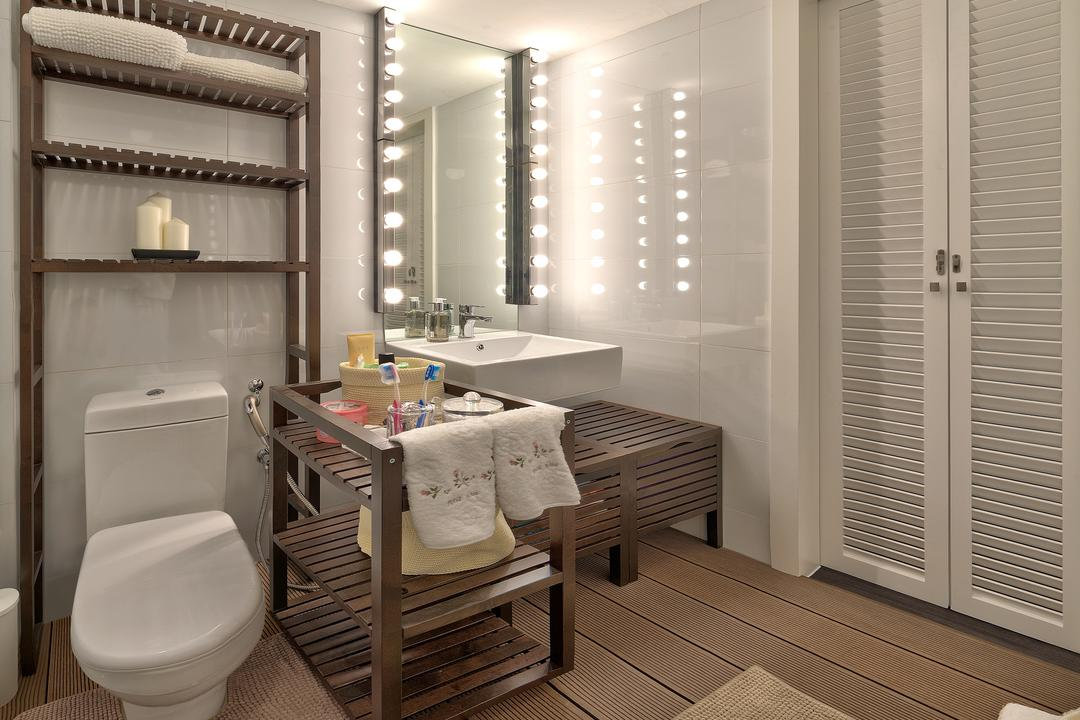 Parkland Residences, Absolook Interior Design, Vintage, Bathroom, HDB, Shutter Door, Hollywood Mirror, Overhead Rack, Vanity Rack, Wood Flooring, Monochrome, Wooden Trolley, Toilet, Chair, Furniture, Indoors, Interior Design, Room