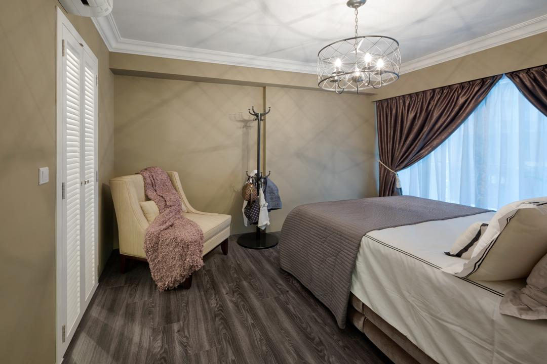 Parkland Residences, Absolook Interior Design, Vintage, Bedroom, HDB, Pendant Lamp, Wood Flooring, Coat Rack, Shutter Door, Armchair, Curtains, Taupe Walls, Taupe Colours, Bedrunner, Dark Wood, Bed, Furniture, Indoors, Interior Design, Room