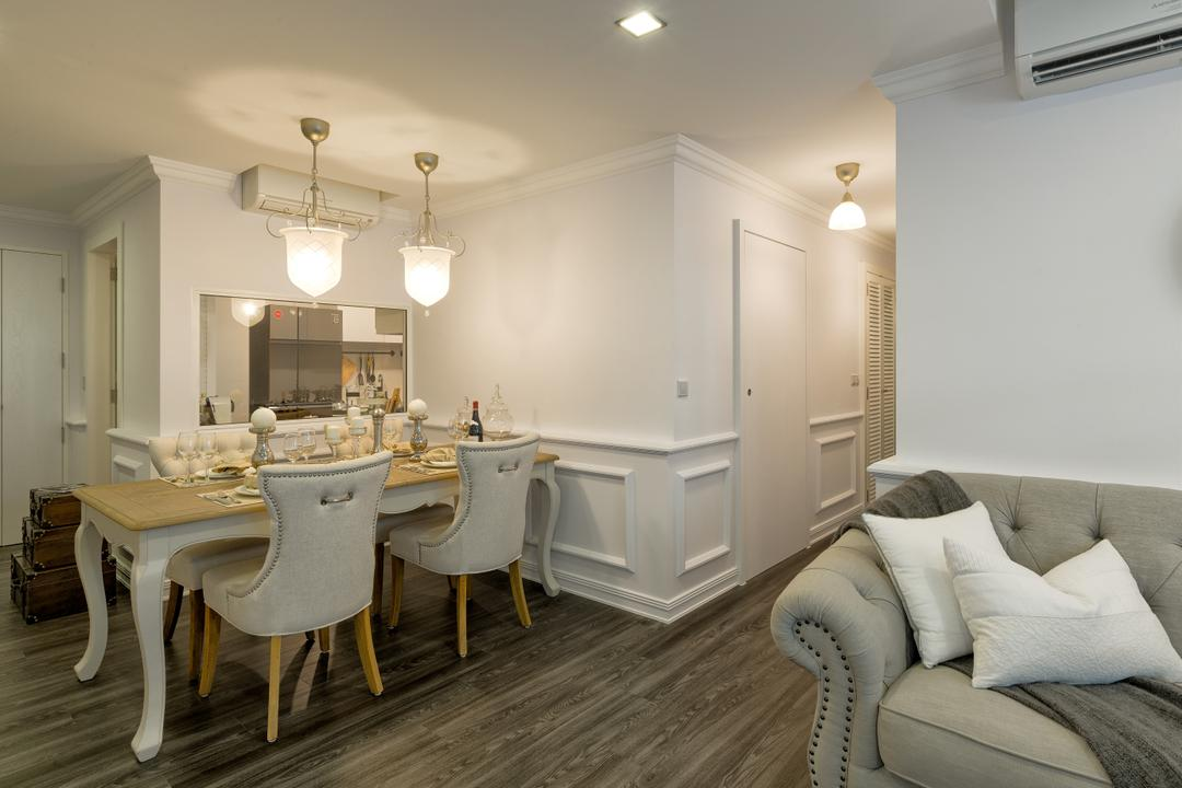 Parkland Residences, Absolook Interior Design, Vintage, Dining Room, HDB, Hallway, Corridor, Wainscoting, Elegant, Rustic, Country, Pendant Lights, Cottage, Dining Table, Furniture, Table, Indoors, Interior Design, Room, Sink, Chair