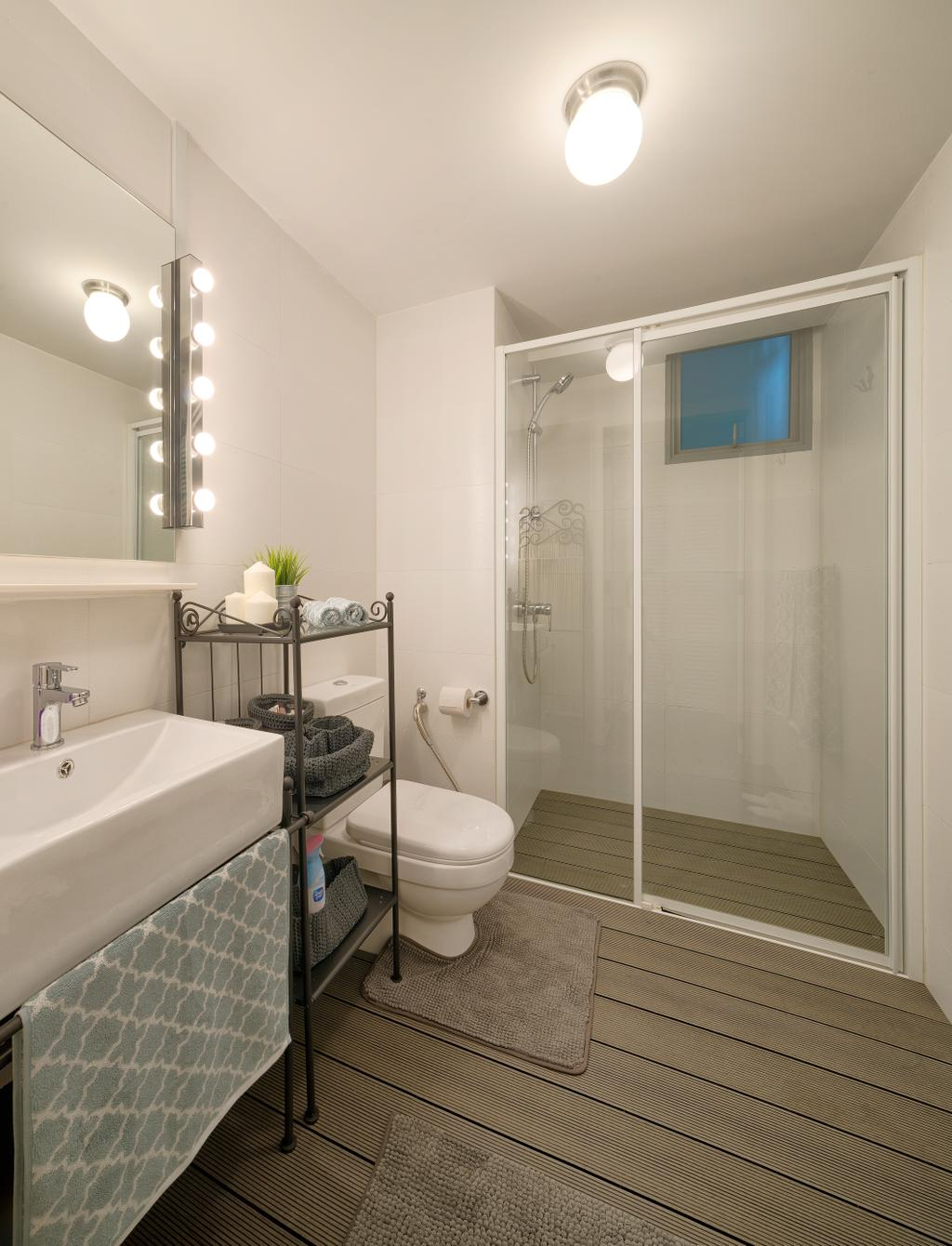 Vintage, HDB, Bathroom, Parkland Residences, Interior Designer, Absolook Interior Design, Vanity Cabinet, Vanity Counter, Shower Screen, Wood Flooring, Toilet, Indoors, Interior Design, Room, Molding