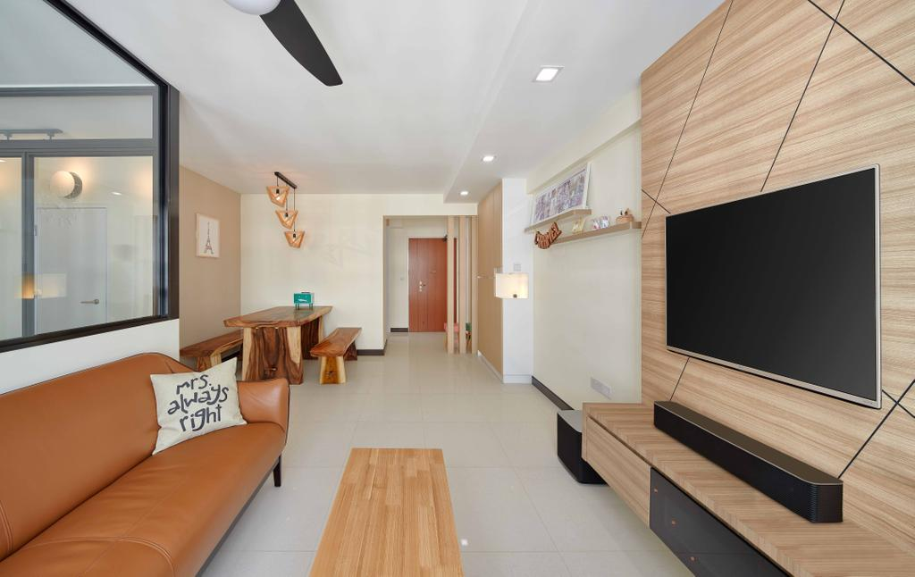 Scandinavian, HDB, Living Room, Sumang Walk (Block 256C), Interior Designer, Absolook Interior Design, Wooden Feature Wall, Leather Sofa, Coffee Table, Sound Bar, Wall Mount Tv, Wooden Panels, Rectillinear Layout, Couch, Furniture, Plywood, Wood, Indoors, Interior Design