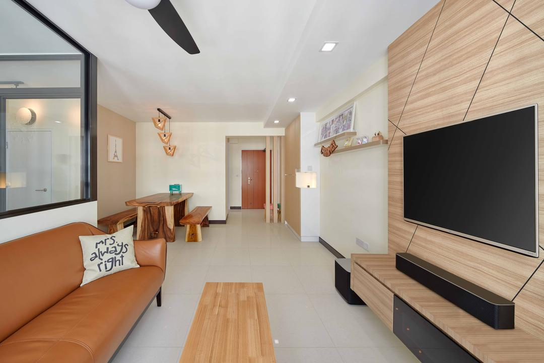 Sumang Walk (Block 256C), Absolook Interior Design, Scandinavian, Living Room, HDB, Wooden Feature Wall, Leather Sofa, Coffee Table, Sound Bar, Wall Mount Tv, Wooden Panels, Rectillinear Layout, Couch, Furniture, Plywood, Wood, Indoors, Interior Design