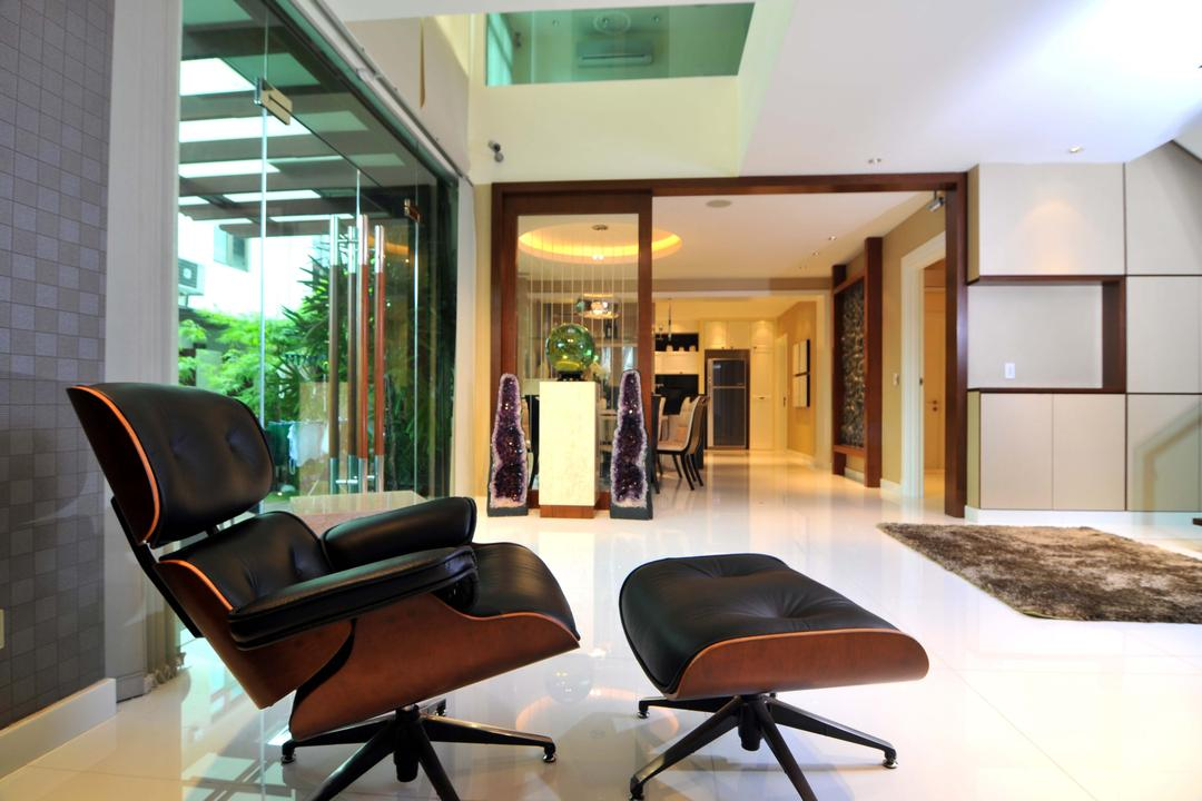 Taman Sutera, Boon Siew D'sign, Traditional, Living Room, Landed, Eames, Armchair, Glass Doors, Full Length Windows, Rug, Marble Flooring, Chair, Furniture, Flora, Jar, Plant, Potted Plant, Pottery, Vase, Indoors, Room