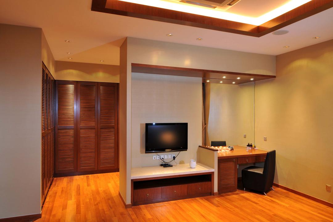 Taman Sutera, Boon Siew D'sign, Traditional, Bedroom, Landed, Mirror, Table, Chiar, Tv Console, White, Closet, Wardrobe, Warm Tones, Parquet, Concealed Lighting, False Ceiling, Dressing Table, Wooden Flooring, Electronics, Monitor, Screen, Tv, Television, Flooring