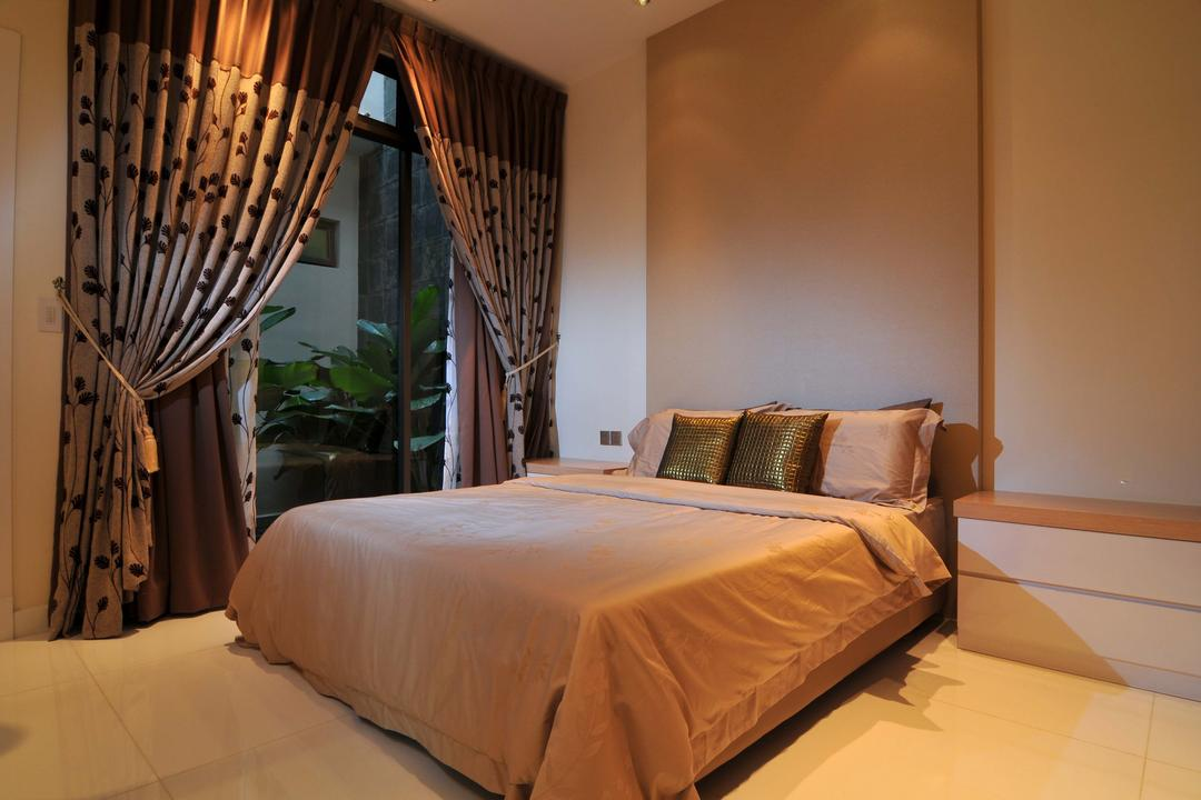 Taman Sutera, Boon Siew D'sign, Traditional, Bedroom, Landed, Curtains, Nightstand, Side Table, False Wall, Beige, White, Full Length Windows, Neutral Tones, Flora, Jar, Plant, Potted Plant, Pottery, Vase, Bed, Furniture, Indoors, Room