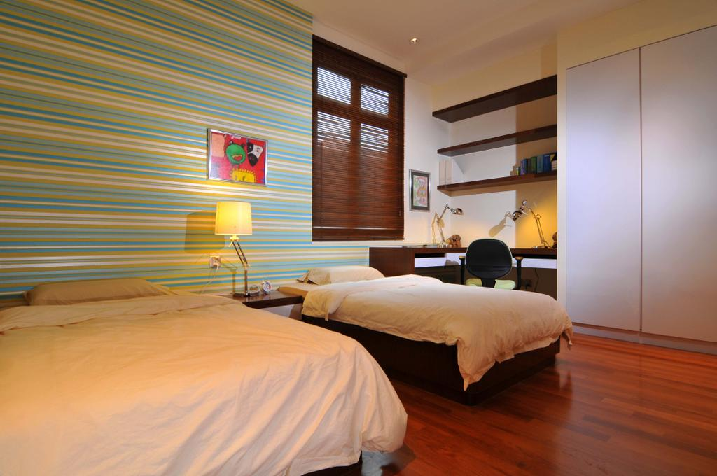 Traditional, Landed, Bedroom, Taman Sutera, Interior Designer, Boon Siew D'sign, Stripes, Striped Wall, Blue, White, Parquet, Shelf, Shelves, Wood Laminate, Wood, Laminate, Table, Venetian Blinds, Lamp, Closet, Wardrobe, HDB, Building, Housing, Indoors, Loft, Room