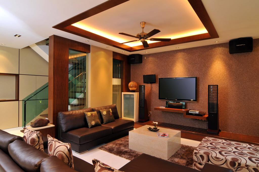Traditional, Landed, Living Room, Taman Sutera, Interior Designer, Boon Siew D'sign, Rug, Coffee Table, Sofa, Speakers, Mounted Speaker, Glass Wall, Wood Laminate, Wood, Laminate, Concealed Lighting, Ceiling Fan, False Ceiling, Tv Console, Couch, Furniture