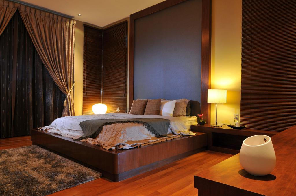 Traditional, Landed, Bedroom, Taman Sutera, Interior Designer, Boon Siew D'sign, Master Bedroom, Lamp, Side Table, Nightstand, Rug, Parquet, Headboard, Gray, Venetian Blinds, Curtains, Platform Bed, Wooden Flooring, Couch, Furniture, Bed, Indoors, Interior Design, Room