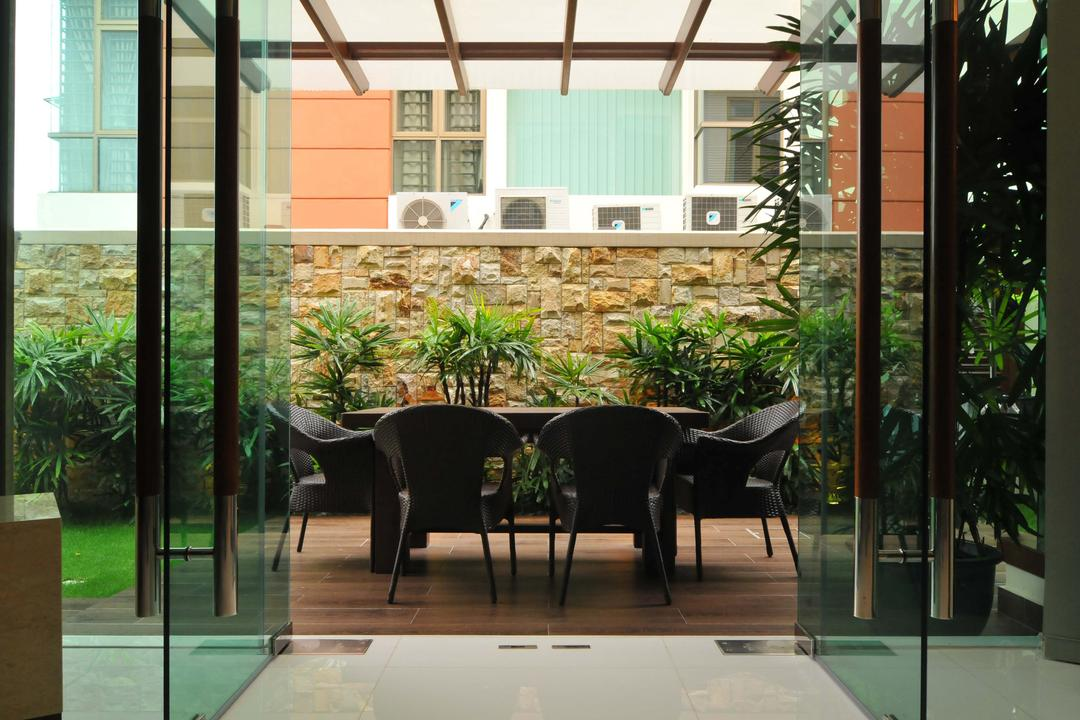 Taman Sutera, Boon Siew D'sign, Traditional, Balcony, Landed, Outdoors, Veranda, Glass Doors, Stone Wall, Chair, Plants, Awning, Plank Flooring, Parquet, Flora, Jar, Plant, Potted Plant, Pottery, Vase, Furniture