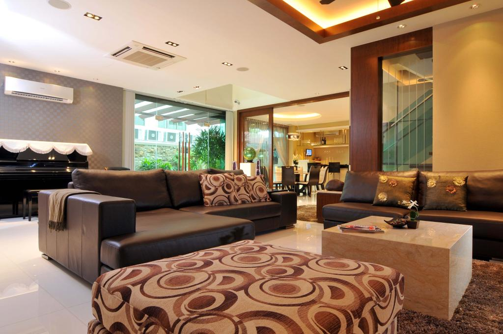 Traditional, Landed, Living Room, Taman Sutera, Interior Designer, Boon Siew D'sign, Coffee Table, Sofa, Rug, Marble Surface, Piano, White, Glass Wall, Footstool, Foot Rest, Wood Laminate, Wood, Laminate, Glass Doors, Couch, Furniture