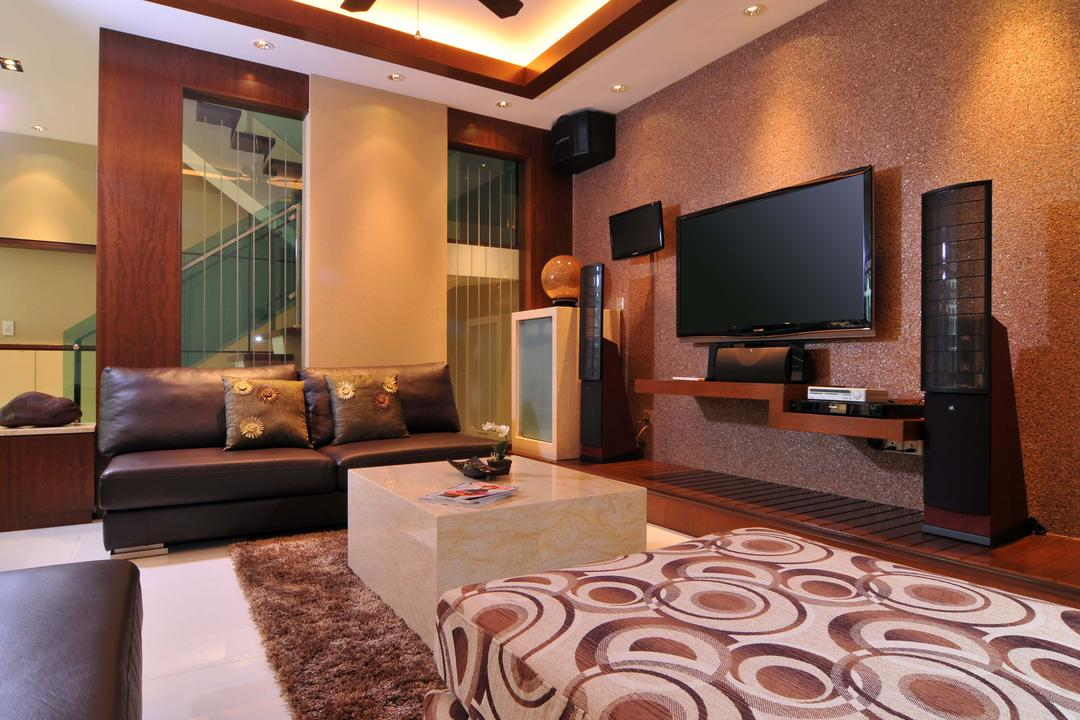 Taman Sutera, Boon Siew D'sign, Traditional, Living Room, Landed, Rug, Coffee Table, Marble Surface, Sofa, Tv Console, Wood Laminate, Wood, Laminate, Speakers, Mounted Speaker, Glass Wall, Couch, Furniture, Electronics, Lcd Screen, Monitor, Screen, Tv, Television
