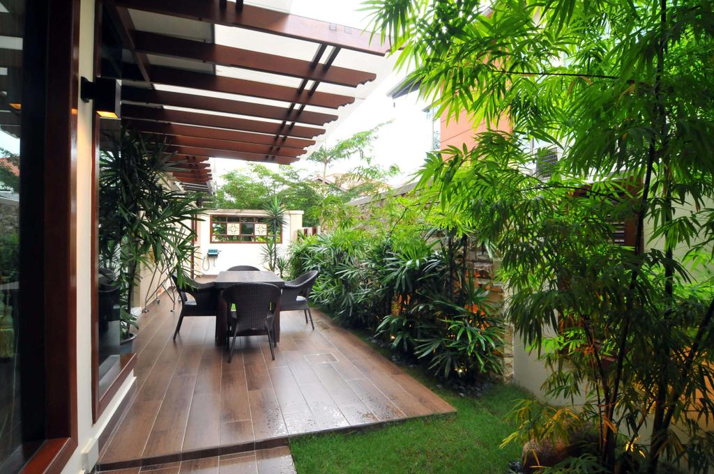 Traditional, Landed, Garden, Taman Sutera, Interior Designer, Boon Siew D'sign, Outdoors, Veranda, Plank Flooring, Parquet, Plants, Awning, Chair, Flora, Jar, Plant, Potted Plant, Pottery, Vase, Balcony, Arecaceae, Palm Tree, Tree