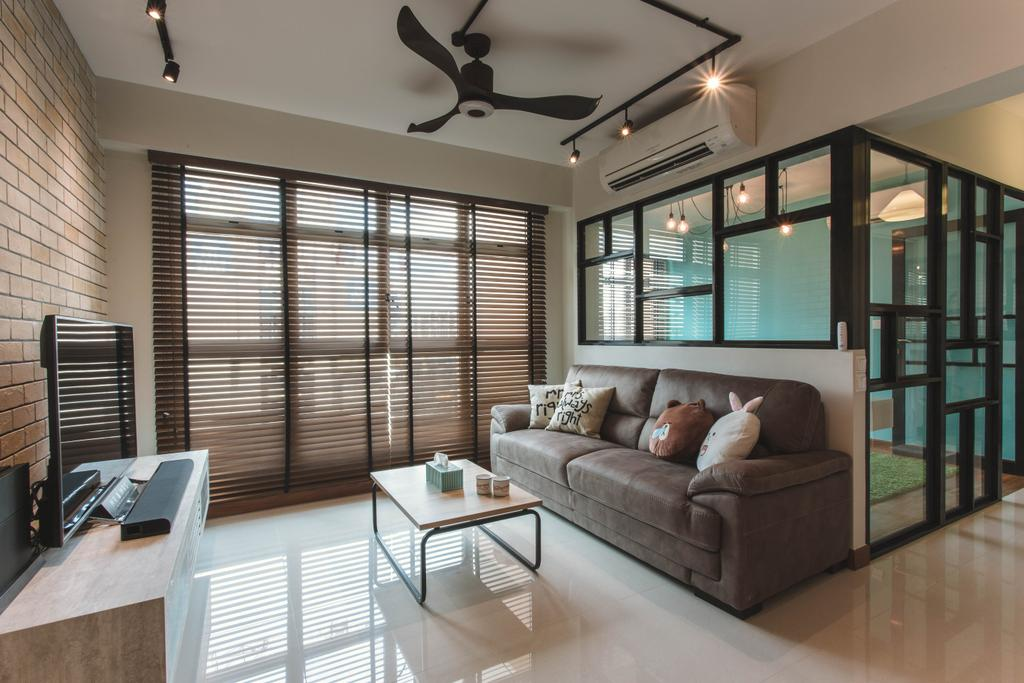 Industrial, HDB, Living Room, Waterway Woodcress, Interior Designer, Aart Boxx Interior, Fabric Sofa, Coffee Table, Brown Blinds, Wooden Blinds, Track Lights, Half Hack, Steel Frames, Glass Wall, Couch, Furniture, Dining Table, Table, Indoors, Interior Design