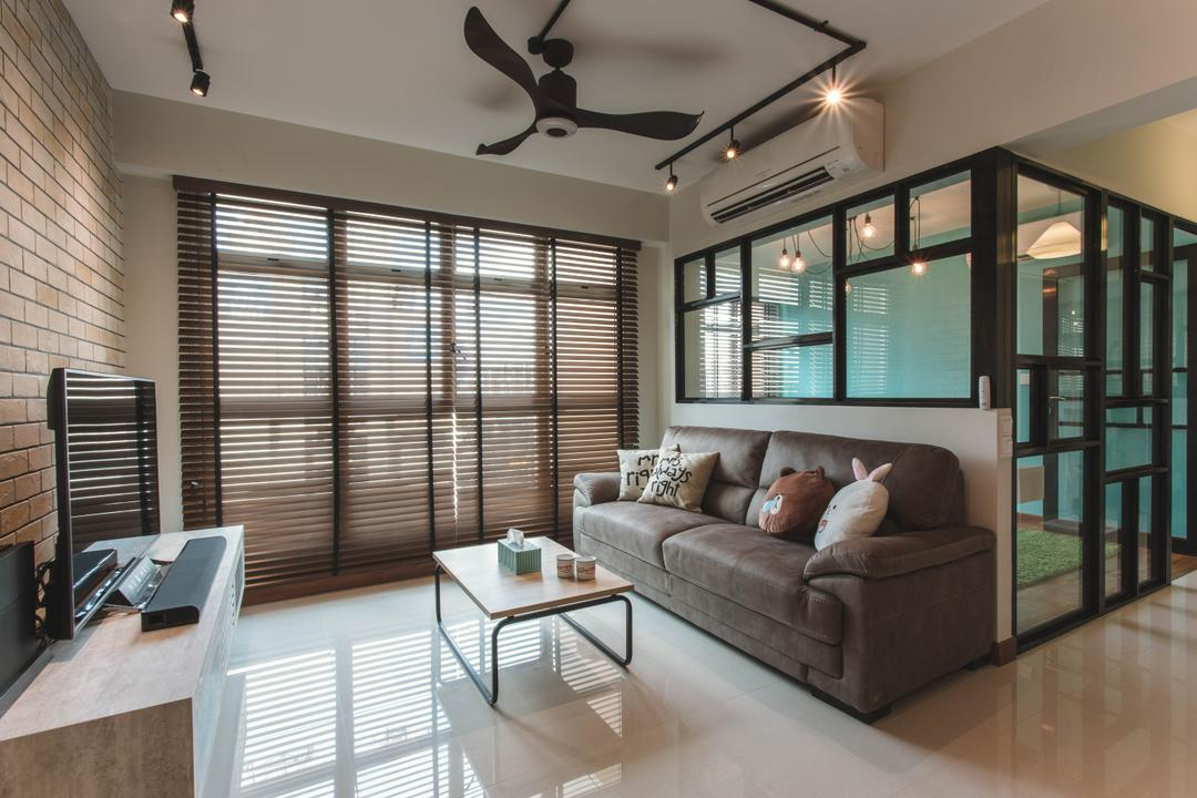 Waterway Woodcress, Aart Boxx Interior, Industrial, Living Room, HDB, Fabric Sofa, Coffee Table, Brown Blinds, Wooden Blinds, Track Lights, Half Hack, Steel Frames, Glass Wall, Couch, Furniture, Dining Table, Table, Indoors, Interior Design