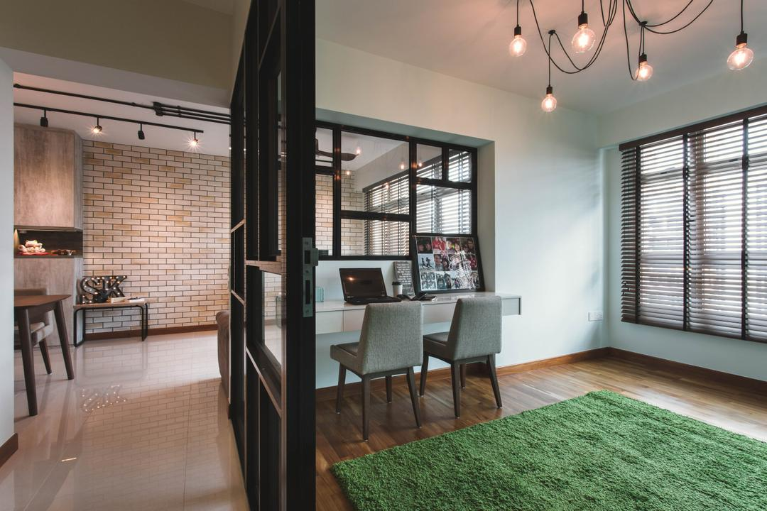 Waterway Woodcress, Aart Boxx Interior, Industrial, Study, HDB, Spider Lights, Hanging Bulbs, Wooden Blinds, Carpet Grass, Study Table, Chair, Furniture, Dining Room, Indoors, Interior Design, Room, Flooring