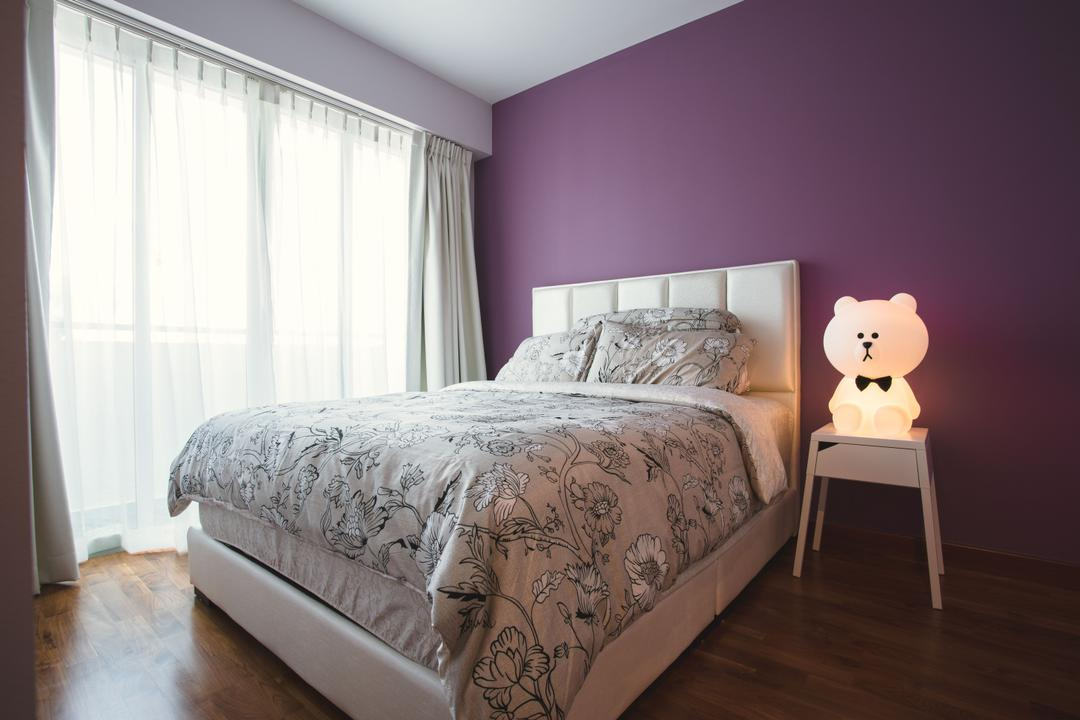 Waterway Woodcress, Aart Boxx Interior, Industrial, Bedroom, HDB, Purple Wall, Bedside Lamp, Bedside Table, Headboard, Curtains, Simple, Bed, Furniture, Chair, Indoors, Interior Design, Room