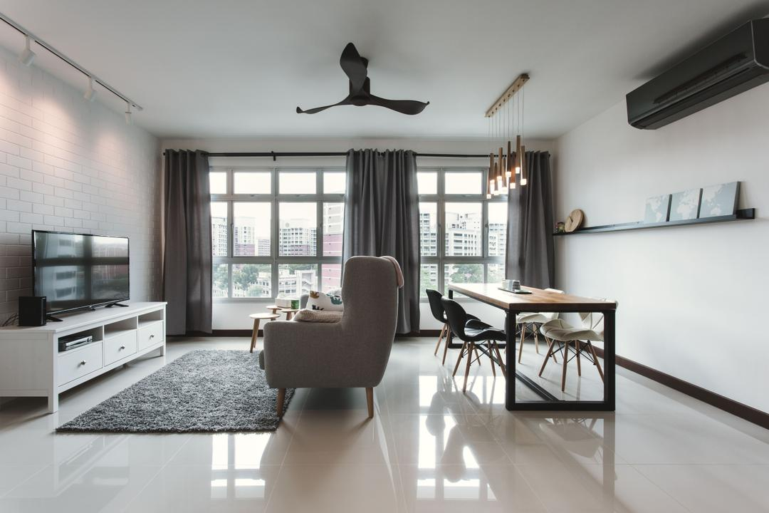 Tampines (Block 871B), DB Studio, Scandinavian, Living Room, HDB, Bright And Airy, Airy, Bright, Brick Wall, High Back Sofa, Pencil Legs, Monochrome, Area Rug, Tv Console, Wall Shelf, Chair, Furniture, Dining Table, Table