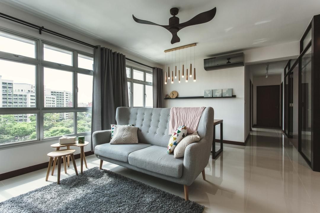 Tampines (Block 871B), DB Studio, Scandinavian, Living Room, HDB, Pencil Legs, Grey, Fabric Sofa, Gray, Curtains, Grey Curtains, Side Table, Dining Table, Furniture, Table, Corridor, Chair, Indoors, Interior Design
