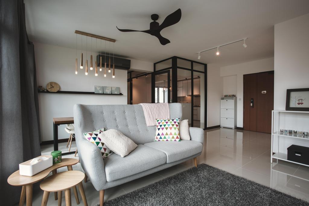 Scandinavian, HDB, Living Room, Tampines (Block 871B), Interior Designer, DB Studio, Monochrome, Side Table, Grey Sofa, Gray Sofa, Cushions, Cushion, Home Decor, Couch, Furniture