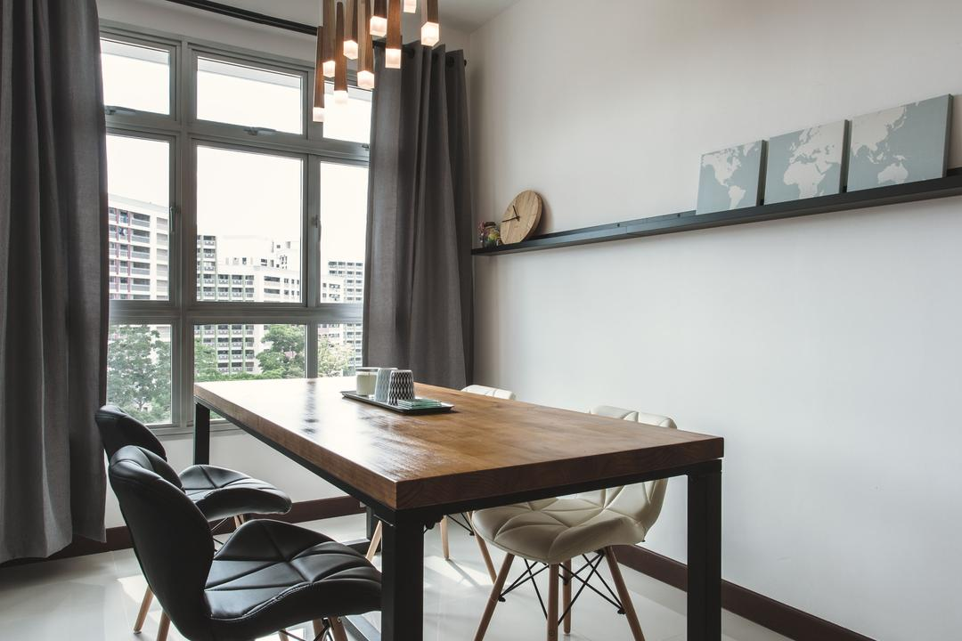 Tampines (Block 871B), DB Studio, Scandinavian, Dining Room, HDB, Pendant Lamp, Pencil Legs, Wooden Dining Table, Hanging Lamps, Chair, Furniture, Dining Table, Table, Indoors, Interior Design, Room