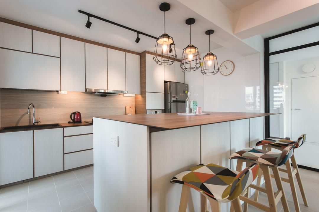 Tampines (Block 871B), DB Studio, Scandinavian, Kitchen, HDB, Kitchen Island, Caged Lamp, White And Wood, Bar Stool, Island, Kitchen Countertop, Indoors, Interior Design, Room, Chair, Furniture, Dining Table, Table
