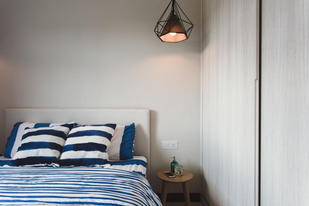 Tampines (Block 871B), DB Studio, Scandinavian, Bedroom, HDB, Side Table, Pendant Lamp, Nautical Stripes, Nautical, Light Fixture, Indoors, Interior Design, Room, Sink