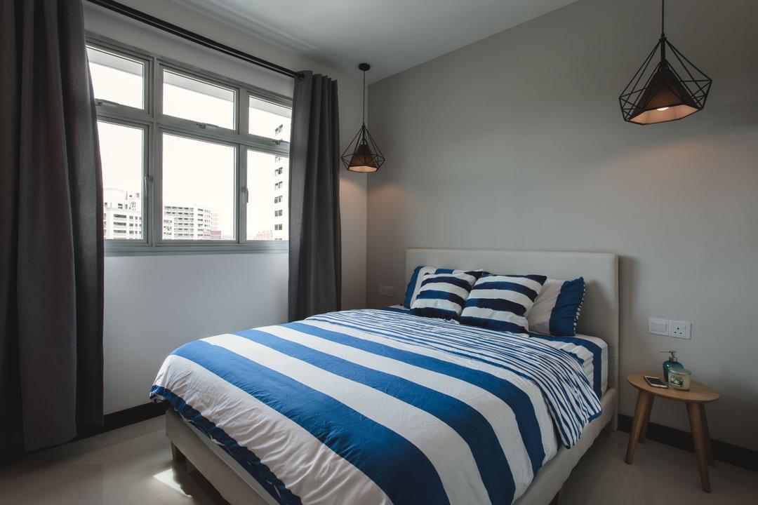 Tampines (Block 871B), DB Studio, Scandinavian, Bedroom, HDB, Hanging Lights, Pendant Lamp, Curtains, Simple, Bed, Furniture, Indoors, Interior Design, Room, Light Fixture