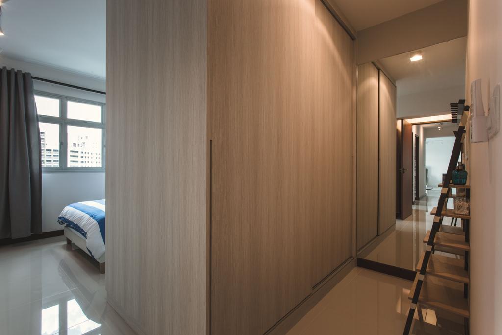 Scandinavian, HDB, Bedroom, Tampines (Block 871B), Interior Designer, DB Studio, Ladder Shelf, Ladder Rack, Walk In Wardrobe, Cabinet, Wall Mirror, Full Length Mirror, Bed, Furniture