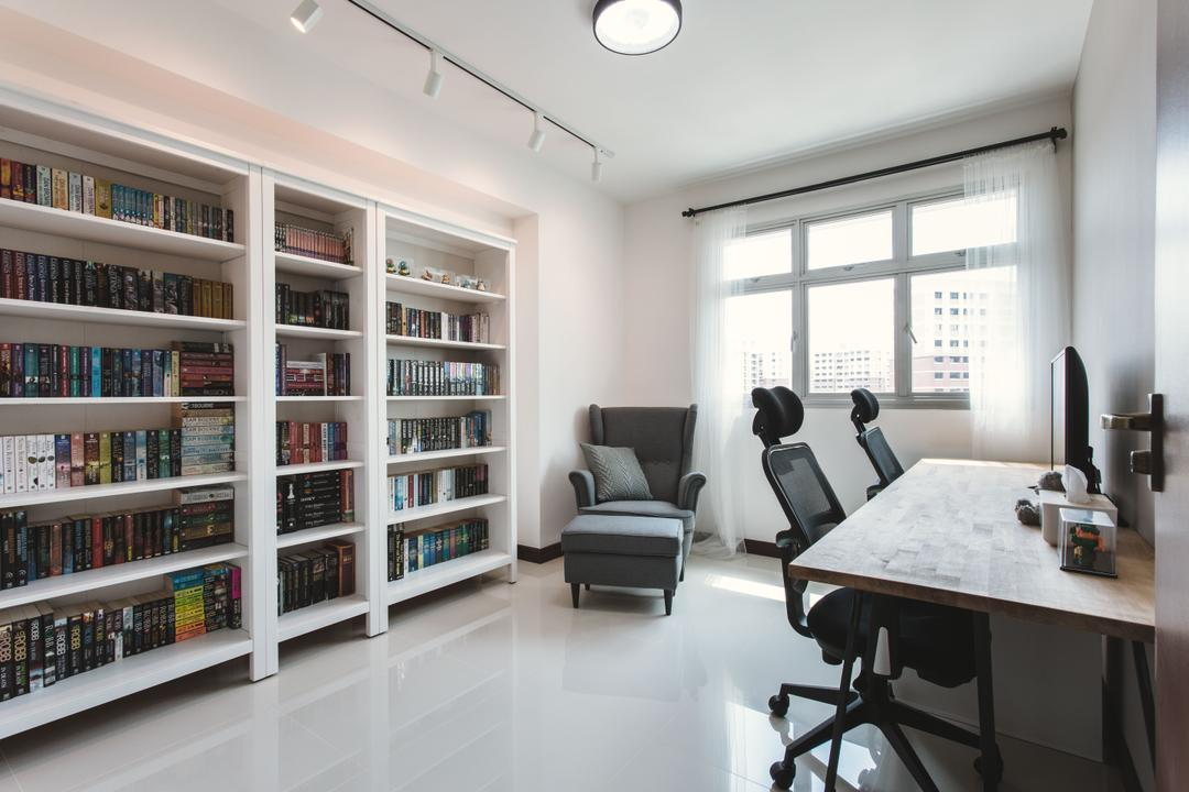 Tampines (Block 871B), DB Studio, Scandinavian, Study, HDB, Bookcase, Bookshelf, Study Table, Office Chair, Study Desk, Office Desk, Work Desk, Workspace, Curtains, Armchair, Reading Nook, Nook, Chair, Furniture, Dining Table, Table